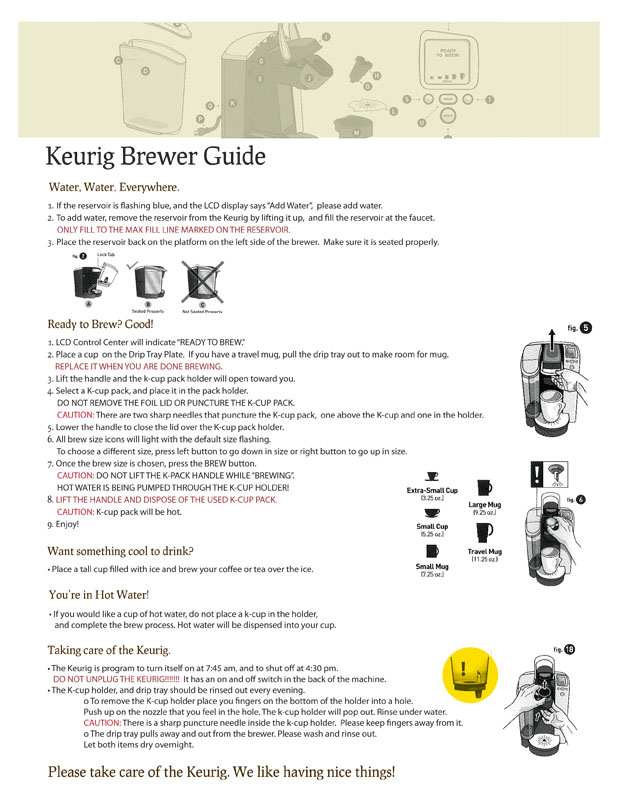 Keurig Coffee Maker Instructions : Keurig Guide - Jolene Judziewicz Portfolio