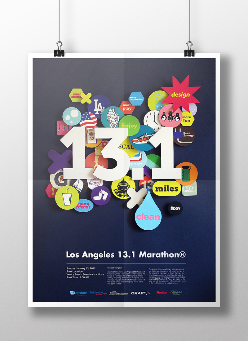 Poster design los angeles - Design Each Graphic Elements And Install Actual Papers On The Wall After That Took A Picture Of Final Positioning Installation Work